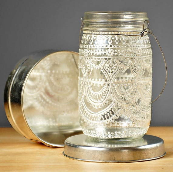 Hand Painted Mason Jar Moroccan Lantern, Vintage Lace Inspired Design in White Pearl - on Crystal Clear Glass