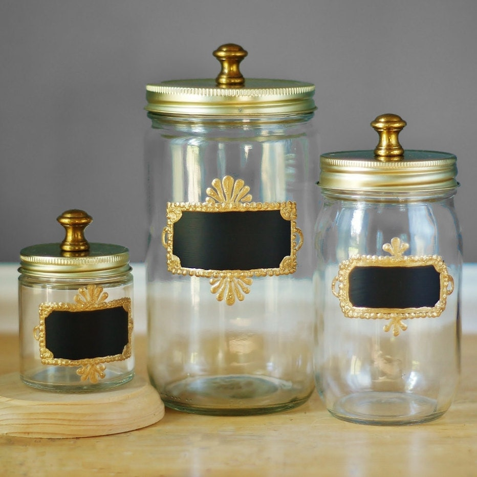 Kitchen Set Brass Hardware Mason Jar Storage Canisters For Kitchen Set Of