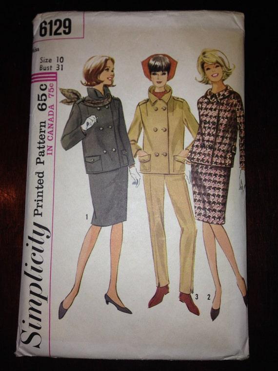 Simplicity 6129 Sewing Pattern 60s Misses Suit and Pants Suit Size 10