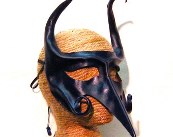 Purple Leather Mask with Beak and Horns, Transformation Mask, Deep Purple,  Vision Quest Mask, Bird Mask (M158)
