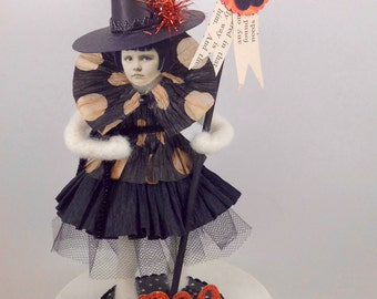 Needle Felted Witch - Vintage Paper Face