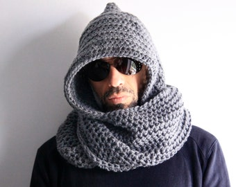 Mens hood scarf, mens infinity scarf, mens winter hood, mens chunky scarf, Calypso Hood, mens winter fashion, made to order