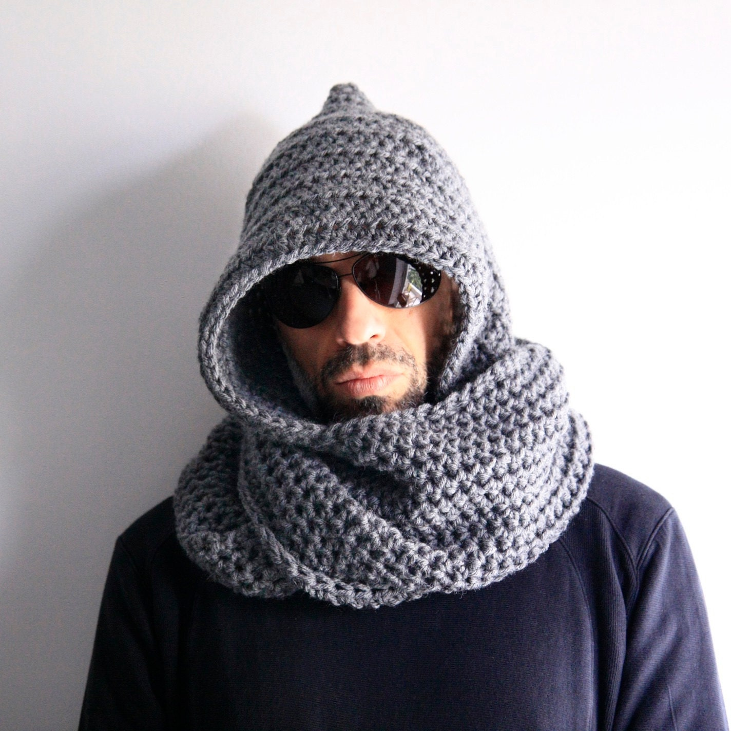 Knitting Pattern For Mens Infinity Scarf : Mens hood scarf mens infinity scarf mens winter hood mens