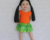 Cool Afternoon Orange Knitted Top Green Skirt - Dolls clothes to fit Australian Girl dolls