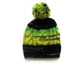 Black and Green Pom Pom Beanie, Hipster Knit Hat