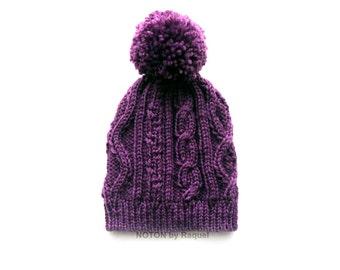 Purple Pom Pom Knit Beanie, Women Knit Hat, Winter Hat