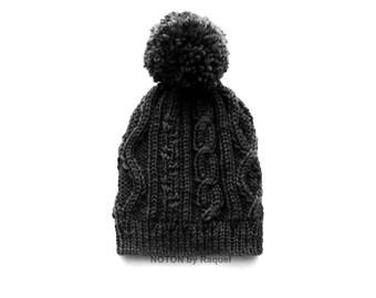 Slouchy Beanie, Winter Hat, Pom Pom Knit Beanie, Cable Knit Hat