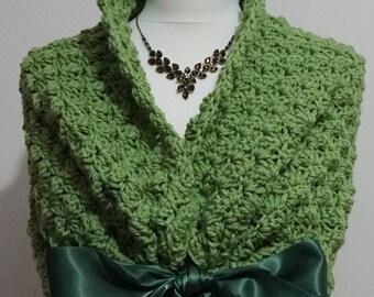 Spring Wedding Shawl, Elegant Bridal Wrap, Winter Wedding Dress Cover Up, Bridal Bolero Shrug, Crochet Shawl, Romantic Green Capelet