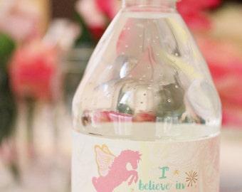 Rainbow Unicorn Water Bottle Lables