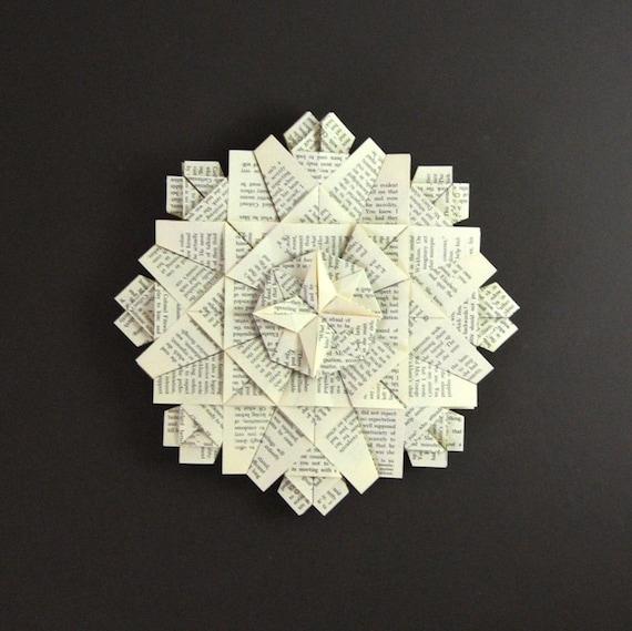 Book Paper Wreath - Origami Art Wall Sculpture - Black & White Crystal Sculpture - Book Paper Sculpture Neutral Wall Decor Paper Anniversary