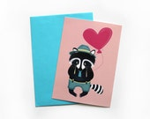 Valentines Postcard, Valentines Greeting Card, Raccoon Postcard, Love Postcard, Holiday Greeting