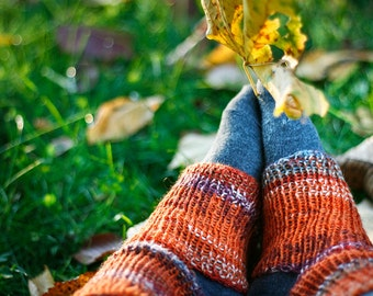 Orange yoga socks, knitted pilates socks,  knit dance socks, yoga clothing