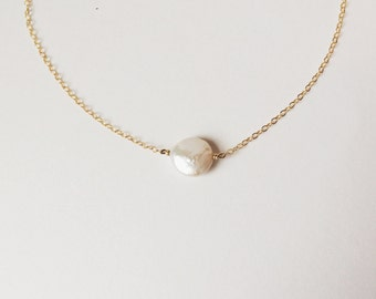 Simple Freshwater Coin Pearl Necklace