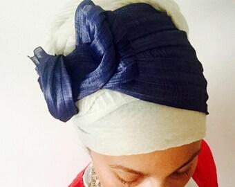 Blue Silk Abaca Upscale Headband Turban- Tichel Topper