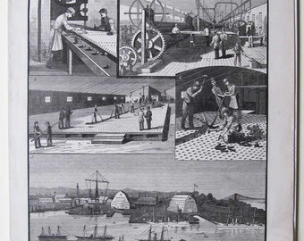 1889 Brooklyn Navy Yard, Scientific American, Full Issue, Antique Wood Engraving, Illustrations & Extensive Advertising