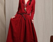 Maxi Dress, Bridesmaid dress, Long Dress Coat, Winter Dress, Evening Dress, Formal Dress, Red Dress, Linen Dress, Cocktail Dress, plus size