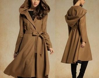 Camel Wool Coat Jacket, Asymmetryc Extravagant  Hoodded Coat, Camel Winter Coat, Gorgeous Hooded Black Wool Coat, wool blazer, winter hood