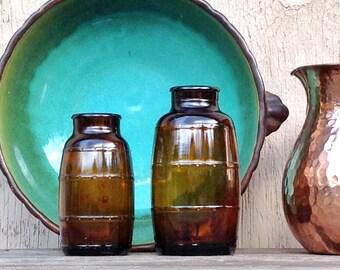 Brown Beer Keg Bottles, 2 Bigger Deep Amber Glass Barrel Bottles