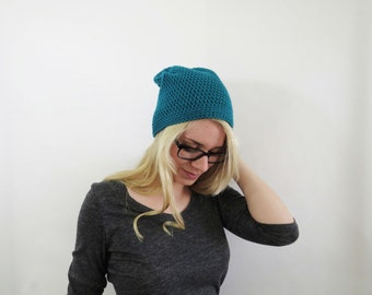 Womens Hat. Teal Slouchy Hat. Slouchy Womens Hat. Slouchy Beanie.  Teal Slouch Hat. Crochet Hat. Knit Hat Beanie. Teal Hat. Winter Hat.
