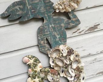 Mermaid Wall Art/Seashell Mermaid/Beach House Wall Art/Boho Beach House