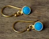Turquoise Earrings, Gold Turquoise Earrings, Bezel Set Turquoise Earrings, December Birthstone Earrings, Simple Gold Earring, Dangles