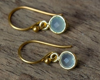 Chalcedony Earrings, Simple Earrings, Dangle Earrings, Bezel Set Earrings, Bridesmaid Earrings, Simple Gold Earrings, Dainty Earrings