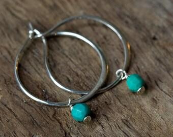 Silver Hoop Earrings, Turquoise Earrings, Hoop Earrings, Boho Earrings, Minimal Earrings, Silver Earrings, December Birthstone, Bohemian