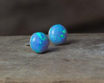 Blue Opal Earrings, October Birthstone, Opal Stud Earrings, Opal Earrings, Silver Opal Earrings, Gold Opal Earrings, Simple Earrings, Opals