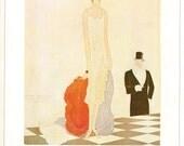 1925 Vogue Fringe & Feather Flapper Cover Vintage 1980 Print Fashion Eduardo Benito Art Deco Jazz Age Roaring Twenties Gatsby 20s Wall Decor