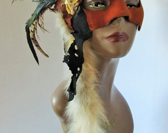 Mask Feathers Bones Leather Masquerade Costume Renaissance Fantasy