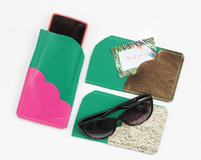 Natural leather iPhone 6, 7 case. Phone wallet. LG Samsung case. Glasses case. Small leather wallet. Metallic leather. Green shades.
