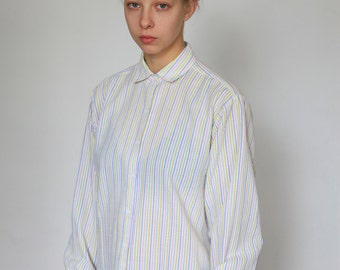 colorful striped white shirt