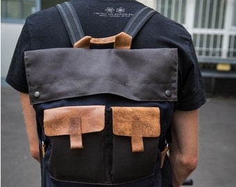 Backpack, Mens, Canvas Bag, Handmade, Canvas and Leather Bag, Rucksack, Gift Ideas For Him