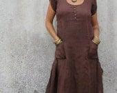 Dress  Woodland  Fairy  Brown  Maxi  Pintuck long  Felted edge