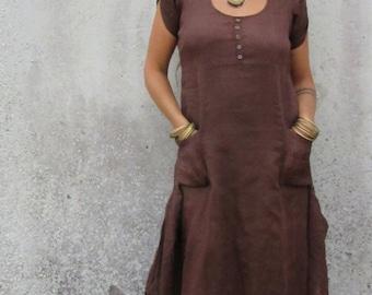 Dress ~ Woodland ~ Fairy ~ Brown ~ Maxi ~ Pintuck long ~ Felted edge