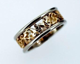 Wide two tone filigree wedding band, yellow gold ring, white gold band, men wedding ring, man filigree ring, wide wedding band, man lace