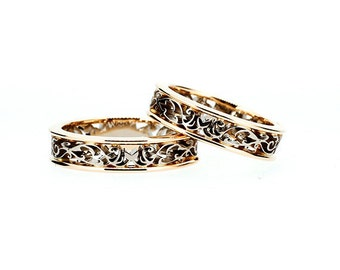 Filigree wedding band set made from yellow and white gold, matching wedding rings, unique filigree ring, gold ring, man wedding band, men