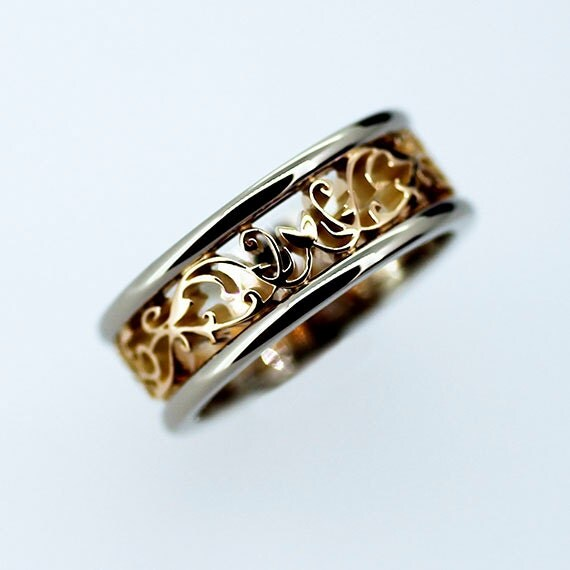 Wide two tone filigree wedding band yellow gold ring white