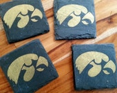 Iowa Hawkeye Slate Coasters Set of 4 - Tailgating, Mancave, husband, boyfriend, brother, birthday