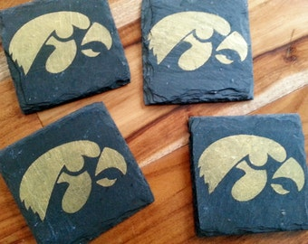 4 Iowa Hawkeye Slate Coasters - Tailgating, Mancave, husband, boyfriend, brother, birthday