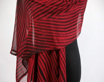 Red Silk Scarf Shibori Wrap Black Stripe Large Shawl