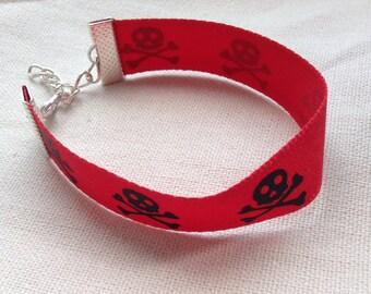 Red Black Skull Crossbones Ribbon Bracelet Silver Chain