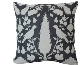 Schumacher Chenonceau Bird Pillow Cover in Grey