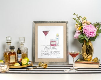 "Cocktail Recipe Art Print 8x10"" - Manhattan Art Print - Watercolor Print - Bar Art Print - Recipe Art Print"