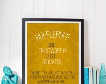 Harry Potter Hufflepuff Hogwarts House Pride Traits Motto print
