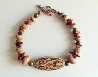 Sandalwood Bracelet or Anklet,Sandalwood Mala Beads,Natural Wood Jewelry,Wood Seeds, Bracelet,Anklet,Earth Elements,Red Jasper, Eye Tiger