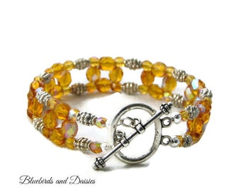Amber Glass Beaded Bracelet, Topaz Glass Bracelet, Ladies Beaded Bracelet, Prom Jewellery, Wedding Jewellery, GIfts for Her