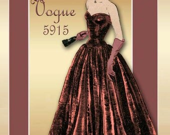 Vogue 5915 1940s Evening Gown Pattern Strapless Bodice with Corset Style Laced Back Closure Elongated Waistline Uncut Factory Folded