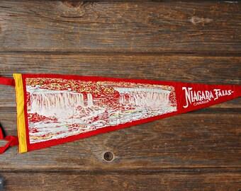 Vintage Niagara Falls Canada Red Felt Souvenir Pennant