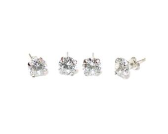 Diamond Stud Earrings, White Dot Studs, 925 Sterling silver Cubic Zirconia Stud Earring, Birthday gift, Anti-allergic Earring